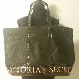 Victoria's Secret Large Black Mesh Tote